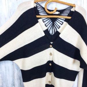 BLU PEPPER Stripe Cardigan Crochet Knit Detail S
